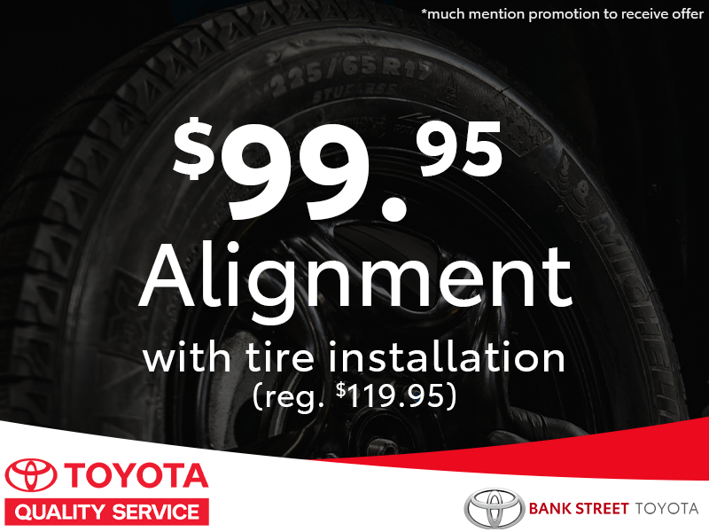 $99.95 Alignment with tire installation