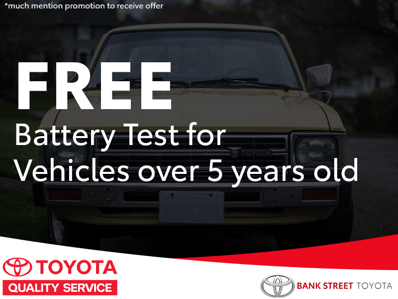 Free battery test for vehicles over 5 years of age